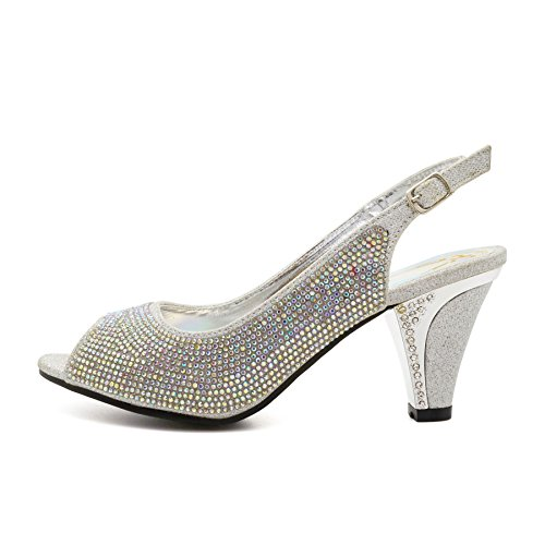 ... New Womens Diamante Low Mid Kitten Heels Sandals Ladies Bridal Wedding  Shoes Size UK 3  ...