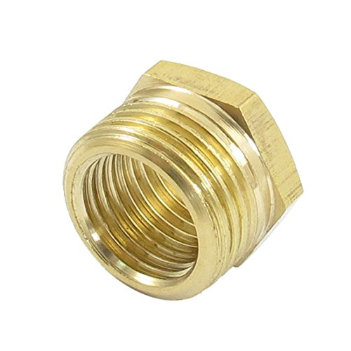 uxcell 16mm Male to 12mm Female Brass Hex Reducing Bushing Adapter Pipe Fitting ()