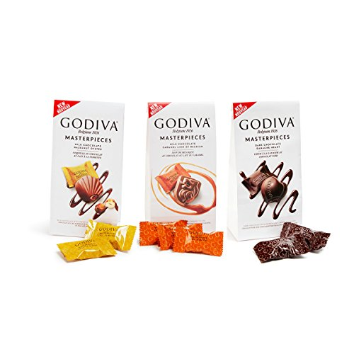 GODIVA Chocolatier Wrapped Chocolate Masterpieces Variety Pack, Gift Box, Pack of 3 (Gift Wrapped Heart)