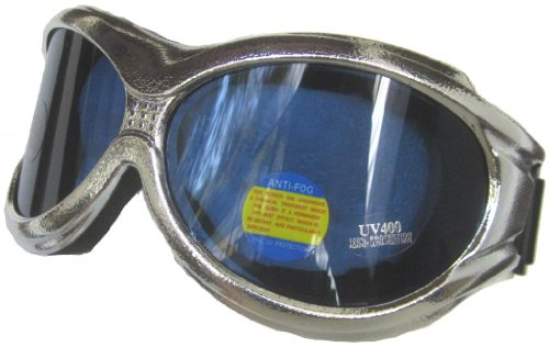 Road Vision Shiny Silver Extra Large Goggles (Silver, Blue)