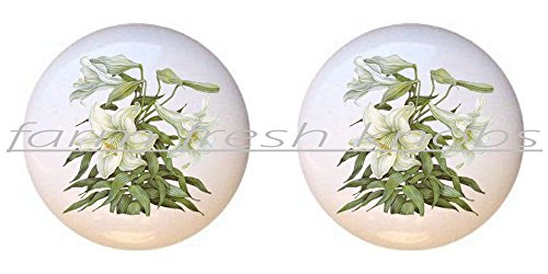 SET OF 2 KNOBS - Easter Lily - Flowers Plants Flower Bouquet Floral - DECORATIVE Glossy CERAMIC Cupboard Cabinet PULLS Dresser Drawer KNOBS