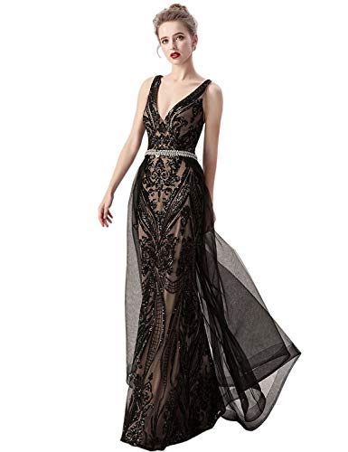 Sarahbridal Women's Mermaid Evening Dresses with Detachable Tulle Skirt Sequin V-Neck Criss-Cross Backless Prom Gowns Black US12
