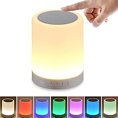 SHAVA Night Light with Bluetooth Speaker, Portable Wireless Bluetooth Speaker Touch Control Color LED Bedside Table Lamp, Speakerphone / TF Card / AUX-IN Supported (White)