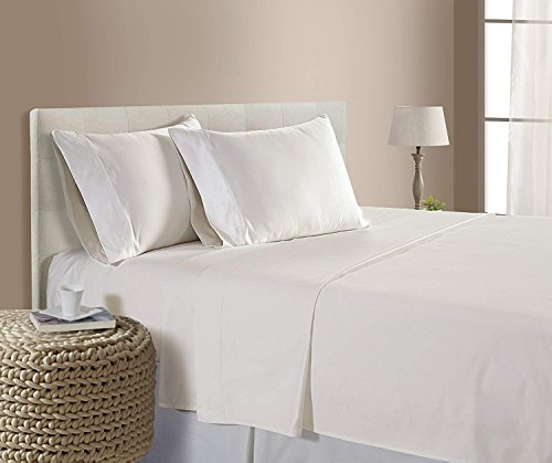 "Queen Size Egyptian Cotton 4-PC Sheet Set Queen (60x80) Fits Upto 14-16"" Deep Pocket 550 Thread Count Ivory Color Solid Pattern (Satisfaction Guarantee)"