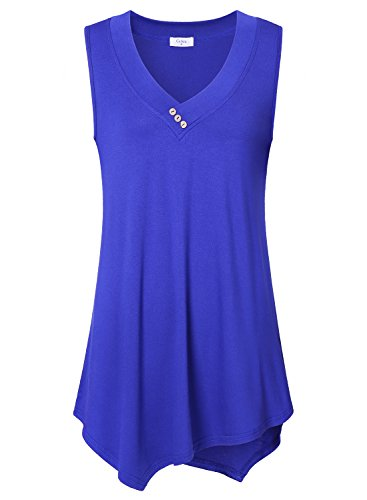 Women Casual Tank Tops, Ca Kra Women's Soft Jersey Knit Sleeveless Tunic Tank Top For Leggings Medium, Blue