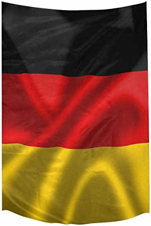 INTERESTPRINT Cool Germany Flag Blowing in The Wind Tapestry Wall Hanging Art Sets, Cotton Linen Tapestries Modern Home Decor Wall Art, 60W X 90L Inch