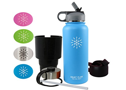 Smart Flask ,Have it All Package. Stainless Steel Vacuum Insulated Water Bottle, Car Cup Adapter, Straw Lid, Flip Top and Stainless Steel Lid, 32 oz. (Blue) (Blue)