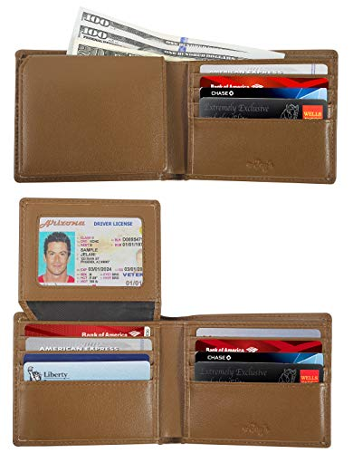 - RFID Wallets for Men - Real Leather Bifold Wallets - Thin & Slim RFID Blocking Security Wallet (Mustard)