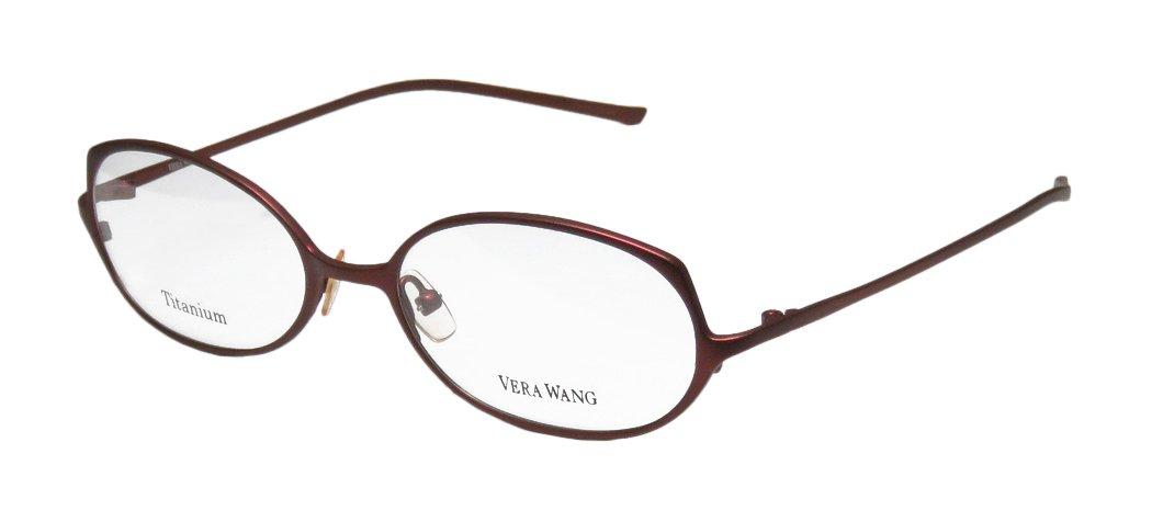 Vera Wang V107 Womens/Ladies Optical Fancy Designer Full-rim Titanium Eyeglasses/Eyeglass Frame (53-17-140, Dark Cinnabar)