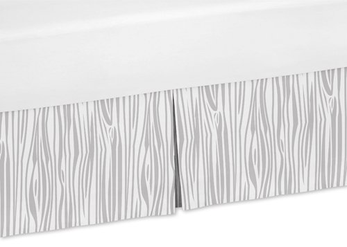 Sweet Jojo Designs Grey Wood Grain Print Queen Bed Skirt for Navy and White Woodland Deer Collection Boys Bedding Sets