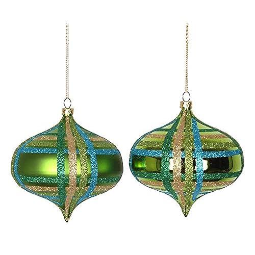 vickerman 4ct lime green w blue green gold glitter plaid shatterproof christmas onion ornaments 4 100mm
