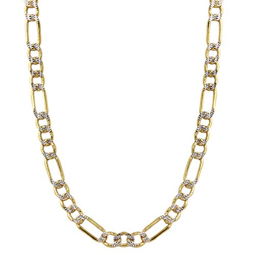 Bee Jewels Men's 14k Two-Tone Gold 5.0mm Hollow Figaro White Pave Chain Necklace (24) 5mm White Pave Mariner Chain