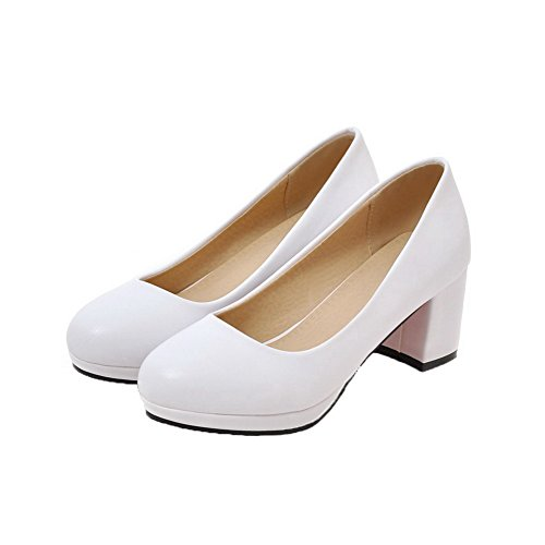 Solid Pu On Pull Women's Toe Shoes Pumps Kitten Round WeiPoot White Heels wWU078xqqE