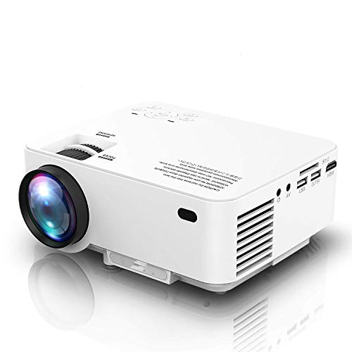"2019 Newest, Mini Projector 1080P Supported, 2600 Lumens HD Video Projector with 176"" Projector Size, 50000 Hours Lamp Lifetime, Compatible with TV Stick, HDMI, AV, USB for Home Theater, Movie"