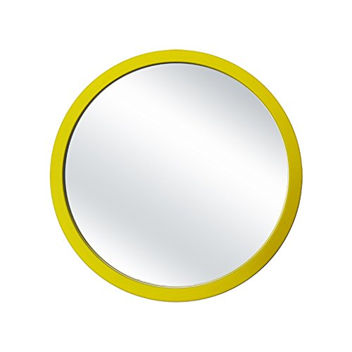 Lxn Simple Modern Dressing Table Mirror Wall-Mounted Bathroom Mirror Round Wooden Framed - Mirrors Framed Bathroom Yellow