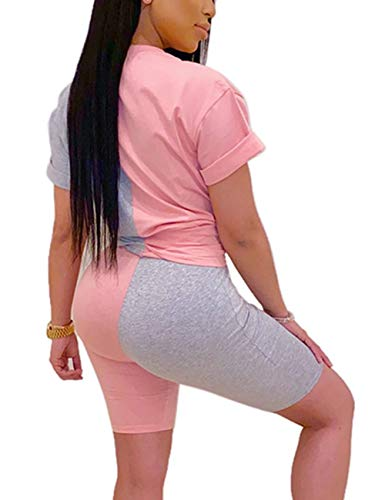 Women 2 Piece Outfits Casual Color Block Short Sleeve Tops Bodycon Shorts Summer Tracksuit Set Pink&Grey L