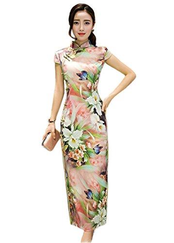 Womens Chinese Silk Cheongsam Dress - 9