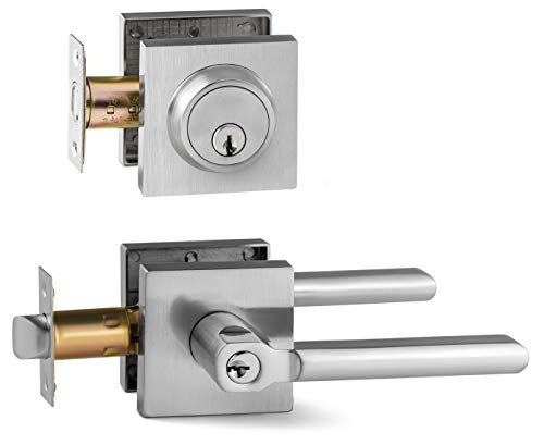 Berlin Modisch Entry Lever Door Handle and Single Cylinder Deadbolt Lock and Key Slim Square Locking Lever Handle Set [Front Door or Office] Right & Left Sided Doors Heavy Duty - Satin Nickel Finish (Best Locks For Doors)