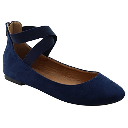 Ververs Fq40 Dames Achterkant Rits Strappy Balletdansflats Navy