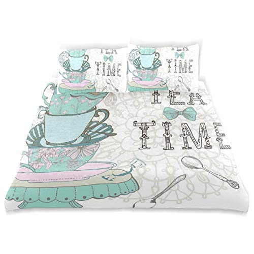 SINOVAL Decor Duvet Cover Set, Vintage Style Tea Time Party Print Home Cafe Design Floral Classic Cup A Decorative 3 Pcs Bedding Set with Pillowcases, Queen/Full