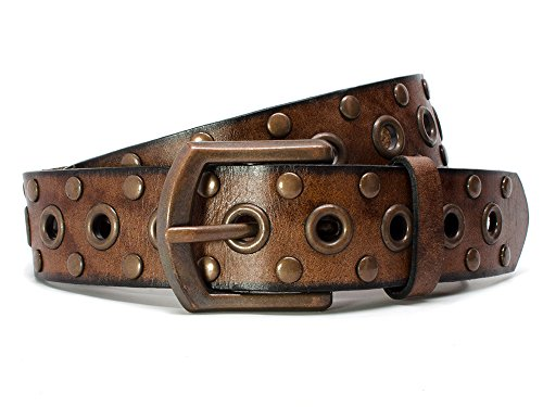 Nickel Free Genuine Leather Studded Belt, Brown-42