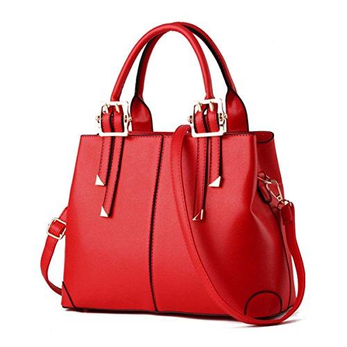 XWB Fashion Vintage Pu Leather Women Top Handle Handbag Purse Satchel Shoulder Bag Bright Red