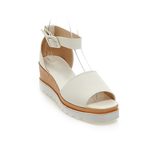 AllhqFashion Women's Solid PU Kitten-Heels Open Toe Buckle Platforms& Wedges White