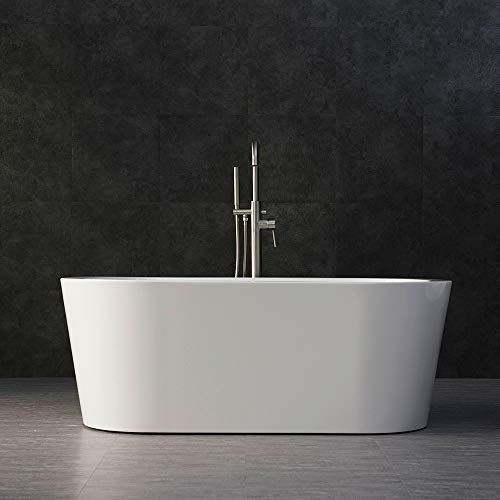 Fantastic Deal! WOODBRIDGE B-0012/BTA-1506 WHITE 59 Acrylic Freestanding Bathtub Contemporary Soaki...