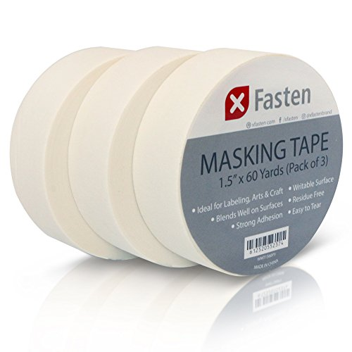 XFasten Artisan Grade Masking Tape White, 1.5 Inches x 60 Yards, Pack of 3 For Drafting, Sketching, and Arts and ()