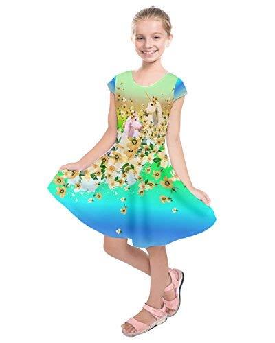 PattyCandy Girls Colorful Floral Unicorn Fashion Kids Short Sleeve Dress - 7]()