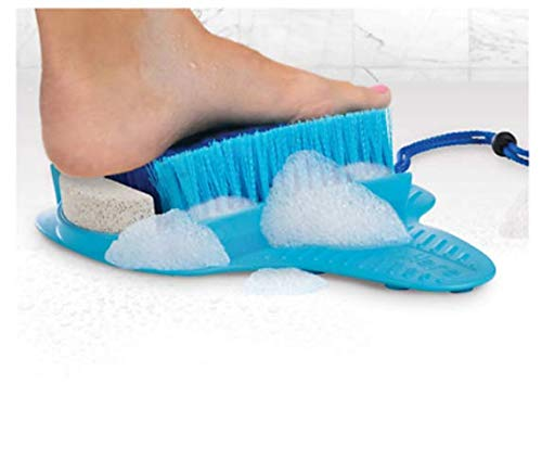Pumice Your Feet - EPHVODI Foot Scrubber with Pumice Stone Brush Feet Massager SPA Cleaner with Non-Slip Suction Cups,Callus Remover for Shower Floor(Blue with Pumice Stone)
