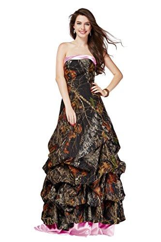 MILANO BRIDE Unique Camo Prom Party Dress Strapless Ruffl...