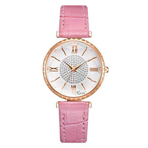 AHAYAKU Fashion Circle Brick Stone Dial Roman Digital Scale Belt Quartz Female Watch Pink