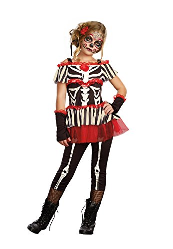 Bones Skeleton Girls Costumes (SugarSugar Girls Senorita Bone-ita Costume, One Color, Large, One Color, Large)