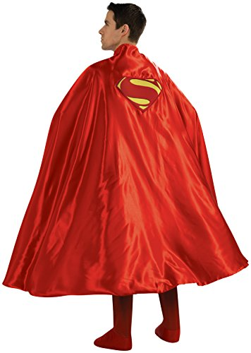 Rubie's Costume Deluxe Adult Cape with Embroidered Superman Logo, Red, One (Adult Superhero Cape)