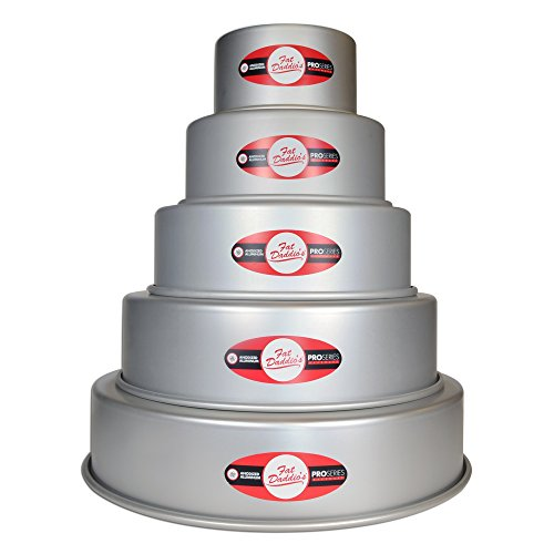 Fat Daddio's 5 Tier 3'', 5'', 7'', 9'', 11'' and 13'' Round Cake Pan Set by Fat Daddios
