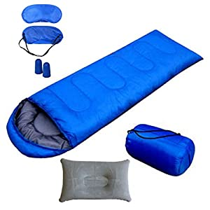 Bisgear Lightweight Single Sleeping Bagfor Warm Weather - Envelope Lightweight Portable Comfortwith Compression Sack/Pillow/Sleep Masks/Foam Earplugs- Great for Adults & Kids (Blue)