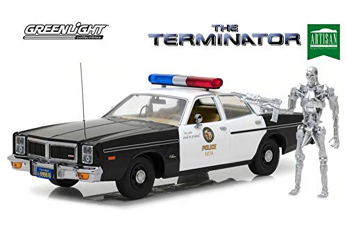 1977 Dodge Monaco Metropolitan Police with T-800 Endoskeleton Figure The Terminator (1984) Movie 1/18 Diecast Model Car by Greenlight 19042