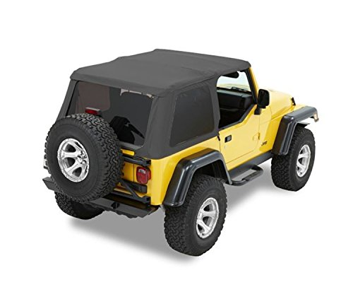 Sunrider Black Denim - Bestop 56820-15 Black Denim Trektop NX Complete Frameless Replacement Soft Top with Sunrider Sunroof Feature for 1997-2006 Wrangler (except Unlimited)