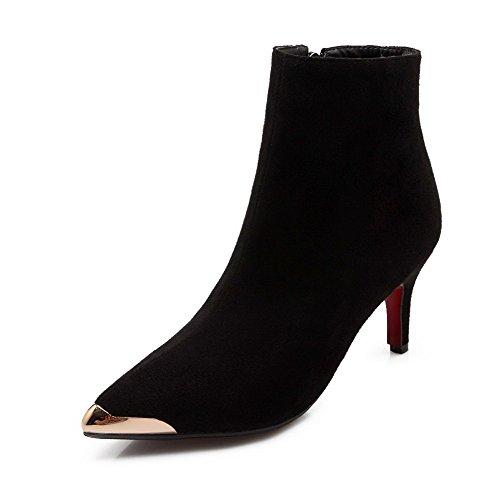 AllhqFashion Damen Knöchel Hohe Reißverschluss Hoher Absatz Rund Zehe Stiefel, Rosa, 34
