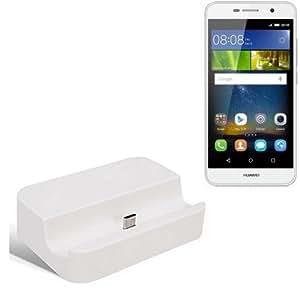 Dock USB Micro adecuado para el Huawei Y6 Pro LTE, blanco   estación de carga incluyendo el cable USB 2.0 cable de datos / cargador, la horquilla del muelle de escritorio cargador universal adecuado para el teléfono móvil para smartphones con conector micro USB, cargador de escritorio del cargador, marca: KS-Comercio (TM). compatible con Huawei Y6 Pro LTE