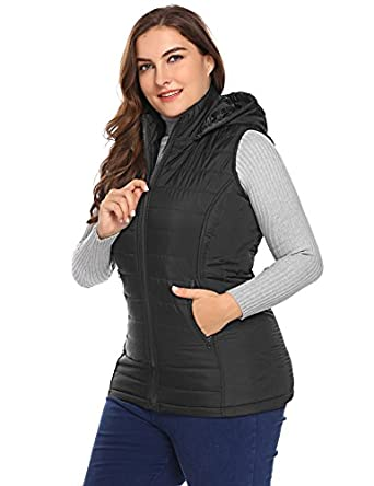 Zeagoo Women's Plus Size Lightweight Warm Quilted Vest Outerwear With Detachable Hood