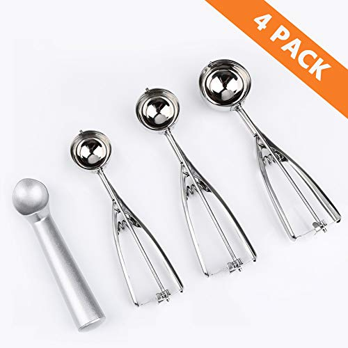 ARITAN Anti-Freeze Ice Cream Scoop Disher - 4 Piece Stainless Steel Set, Good Grips Squeeze Cookie-Melon Scoop Set Small-Medium-Large