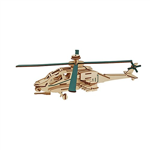 Dlong 3D DIY Assembly Construction Jigsaw Puzzle Handmade Educational Woodcraft Apache Helicopter Plane Model Kit Toy for Adult and Children