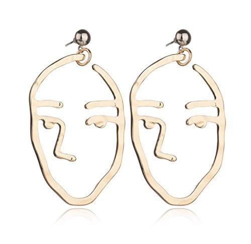 Most Beloved Human Face Dangle Earrings Drop Hoops Studs Cuffs Ear Wrap Pin Vine Dangling Hollow (Butterfly Feather Eye Mask)