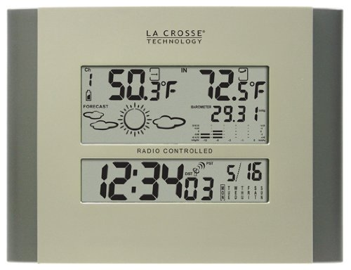 La Crosse Technology 512-807 Digital Atomic Clock with in/Out Temp and Forecast by La Crosse Technology