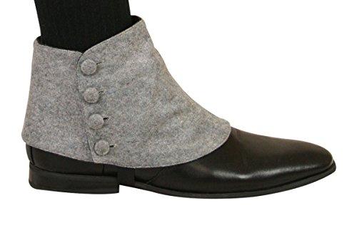 Historical Emporium Men's Premium Solid Button Spats M Gray