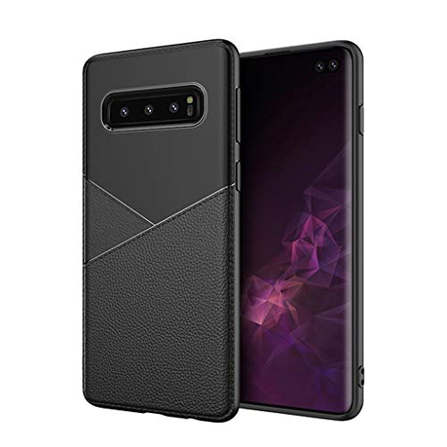 for Samsung Galaxy S10 Plus Case,Thing-ning Slim Fit Premium PU Leather Soft TPU Bumper Rugged Grip Shockproof Protective Cover Cases Compatible with Samsung Galaxy S10 Plus (Black) by thing-ning Phone Case (Image #1)