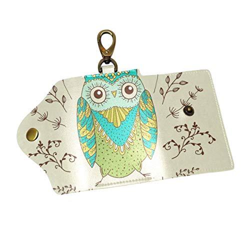 - Key Organizer Funny Cartoon Floral Owl Bird Key Holder Leather Car Key Cover Keyring