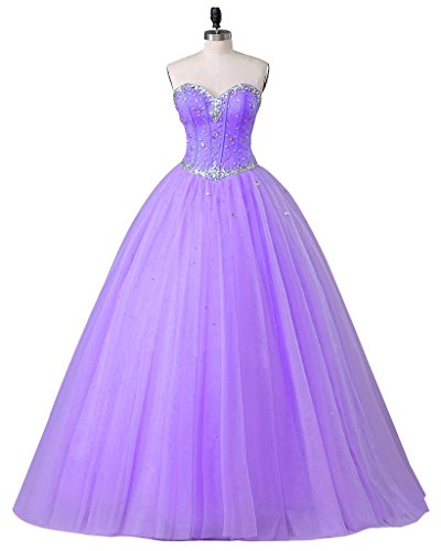 Beautyprom Women's Sweetheart Ball Gown Tulle Quinceanera Dresses Prom Dress Purple US18W